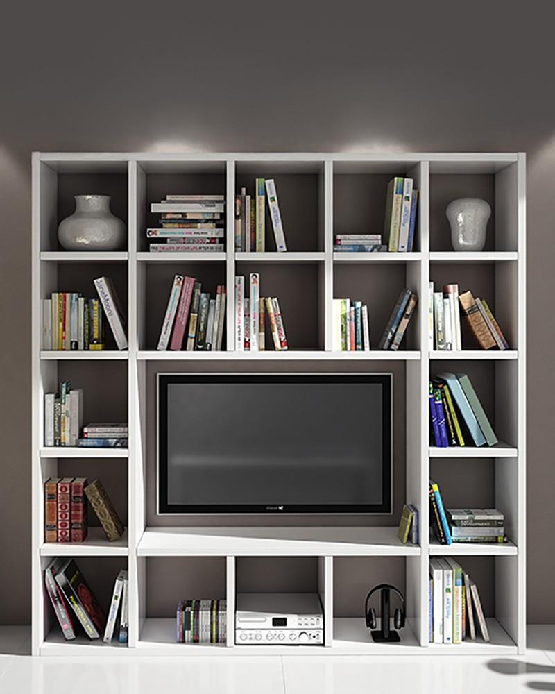 Libreria Porta TV Milky   Zona giorno stile moderno